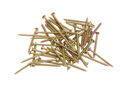 chipboard: Pile of zinc plated chipboard screws with countersunk heads on a light background Stock Photo