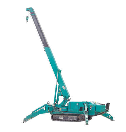 Self propelled crane, mounted on crawlers carrier with telescoping boom on a light background Standard-Bild