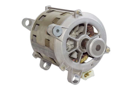 household appliances: Single phase induction motor with pulley for belt drive for household appliances on a light background