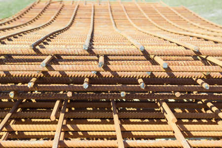 Welded: Stack of grilles of reinforcing steel made of welded bars for the manufacture of concrete construction