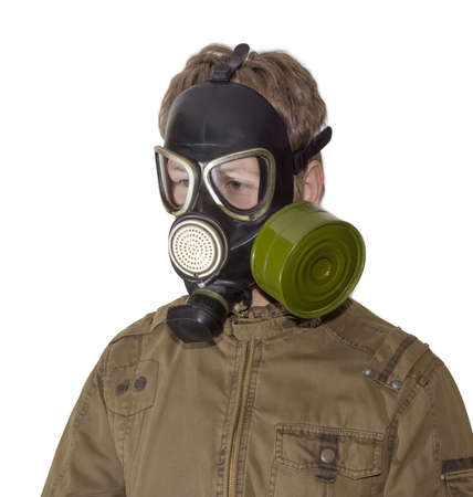 fallout: Man in a rubber gas mask with filter mounted on side of the mask and drinking tube on a light background