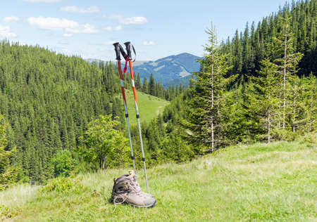 hillwalking: Pair of trekking poles made from three aluminum sections and pair of light brown leather trekking boots on a background of forested mountains Stock Photo
