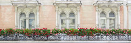 stucco house: Fragment of the wall of the old house with three windows, decorated with forged balcony with red and pink flowers and stucco moulding