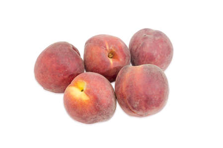 fuzz: Several ripe fresh peaches on a light background Stock Photo