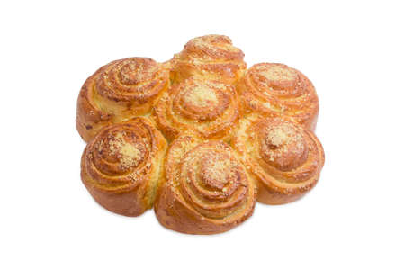 cinnamon swirl: Several cinnamon roll, conjunct together after baking and sprinkled with sugar on a light background