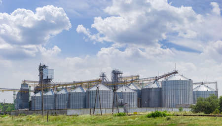 grain storage: Grain storage system with corrugated steel storage bins and grain distribution system on the background of sky with clouds Stock Photo