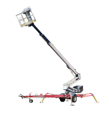 Wheeled in tow articulated boom lift with telescoping boom and basket on a light background