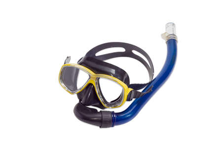 free dive: Black and yellow diving mask with blue snorkel on a light background Stock Photo