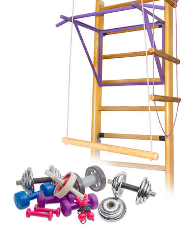 Several different dumbbells, abdominal exercises fitness rollers, jump rope against the background of the home gym on a light background