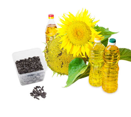 sunflower oil: Several plastic bottles of sunflower oil of different variety, sunflower seeds in the husk, ripening sunflower head with seeds and flowers of sunflower on a light background Stock Photo