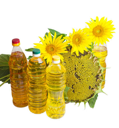 sunflower oil: Several plastic bottles of sunflower oil of different variety, ripening sunflower head with seeds and flowers of sunflower on a light background