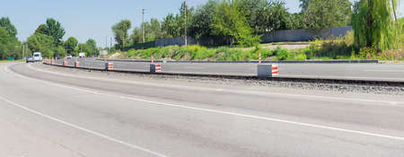 overhaul: Panorama of  carriageway of the motorway with new asphalt layer during of overhaul Stock Photo