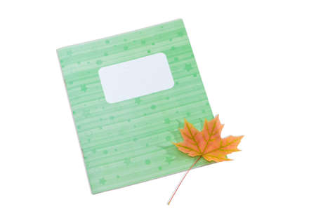 legal pad: School exercise book with light green cover and one yellowed maple leaf on him on a light background