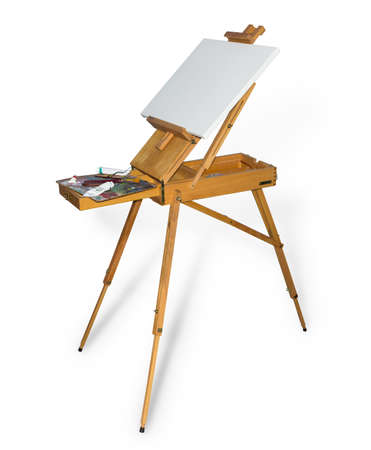 Wooden easel tripod design with blank canvas and painting tool on a light background