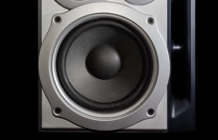 woofer: Fragment of a home loudspeaker in silvery housing with woofer closeup on the dark background