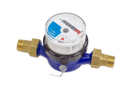 Not connected residential mechanical water meter for consumption measuring of a cold water on a light background