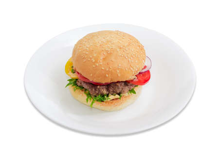 sesame street: Traditional hamburger with beef patty, vegetables and condiments on a white dish on a light background