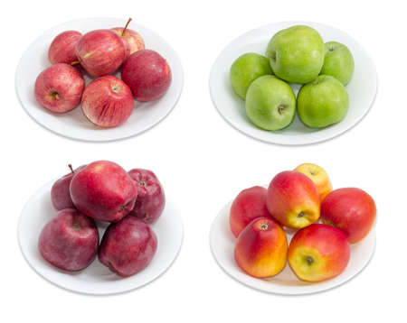 sappy: Four different varieties of ripe apples on a separate white dishes on a light background