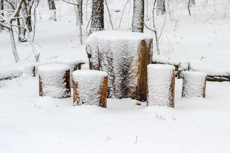 Table and chairs made from old stump and wooden log covered fluffy snow  Фото со стока