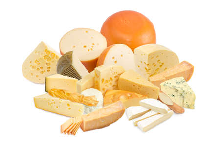 hard cheese: Different pieces of a hard cheese, semi-soft cheese and soft cheese various types on a light background