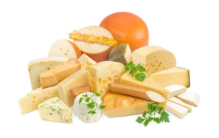 hard cheese: Different pieces of hard cheese, semi-soft cheese and soft cheese various types and twigs of parsley on a light background  Stock Photo