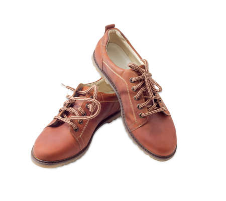 shoestrings: Pair of new leather brown mens shoes  with a shoelaces on a light background