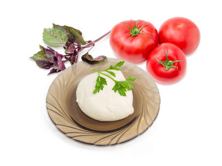 potherb: Ball of the fresh soaked mozzarella cheese on the dark glass saucer, tomatoes and twigs of parsley and purple basil on a light background