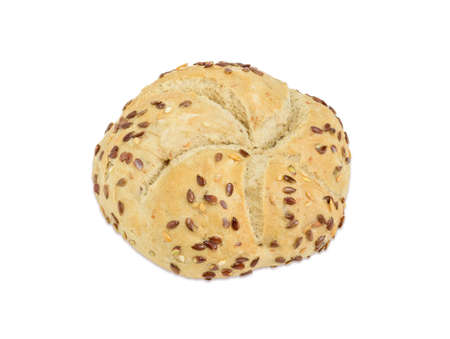 Round wheat sourdough bun, sprinkled with flax and sesame seeds on a light background