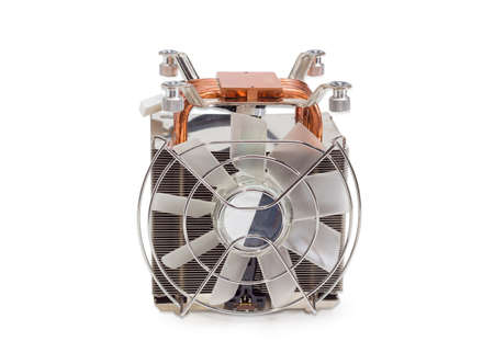 Front view of the active CPU cooler with large finned heatsink, fan, copper thermal pad with a heat pipes on a light background  Stock Photo