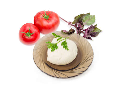 Ball of the fresh soaked mozzarella cheese on the dark glass saucer, tomatoes and twigs of parsley and purple basil on a light background