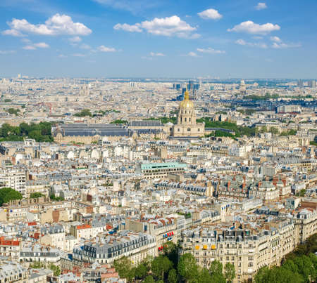 View from the Eiffel Tower of the eastern part skyline of Paris in spring day Stock Photo