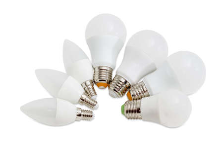 Several different domestic light emitting diode lamp with a various size of a male screw base on a light background
