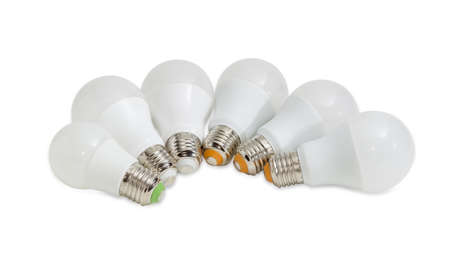 Several different domestic light emitting diode lamp with a sized E27 male screw base on a light background Stock Photo