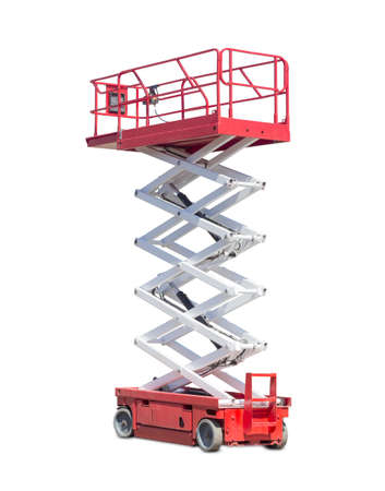 Mobile aerial work platform - red and white scissor hydraulic wheeled self propelled lift on a light background. 스톡 콘텐츠