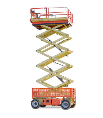 Mobile aerial work platform - red and yellow scissor hydraulic wheeled self propelled lift on a light background.