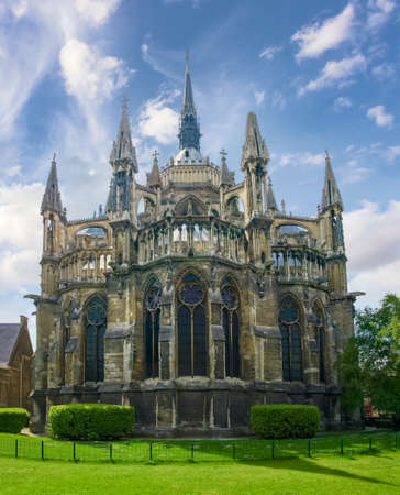 Eastern facade of the Cathedral Notre-Dame de Reims, built in the 13th century, France Stock Photo