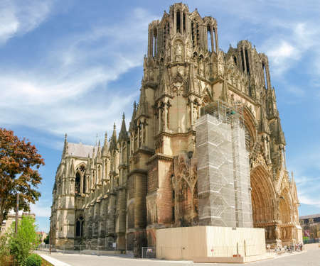 recuperation: View from northwest of the Cathedral Notre-Dame de Reims, built in the 13th century, during the restoration work of a part of the main facade, France