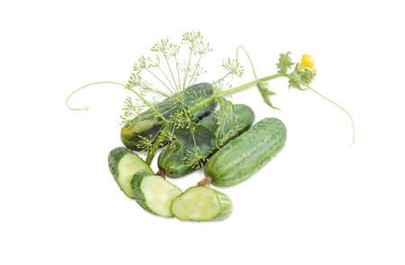 Several whole fresh cucumbers, one sliced cucumber, stalk of the cucumber with leaves, tendrils and flowers and inflorescence of dill on a light background Stock Photo