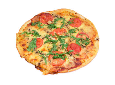 potherb: Cooked round pizza with tomatoes, mushrooms and arugula on a light background  Stock Photo