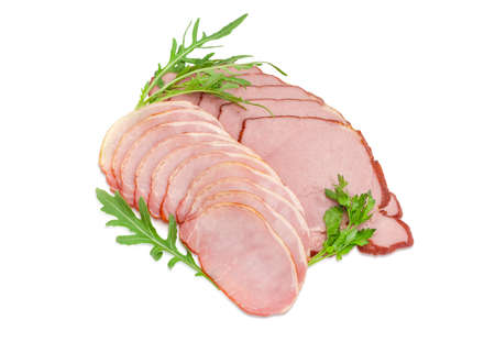 potherb: Sliced boiled smoked pork loin and ham with arugula and parsley leaves on a light background