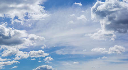 Background of the sky with cumulus, storm and cirrus clouds in summer day Stock Photo