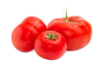 Three ripe red tomatoes different sizes closeup on a light background Imagens - 80572572