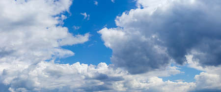 Background of a panoramic view of the sky with cumulus and storm clouds in summer day