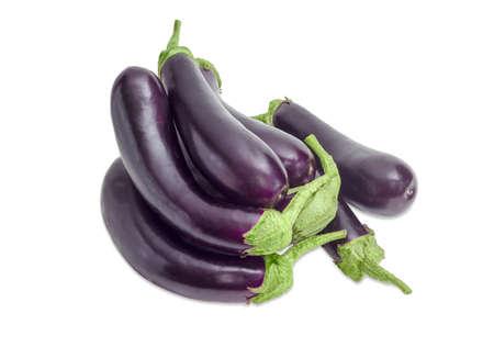 nightshade: Pile of the fresh purple eggplants on a light background  Stock Photo