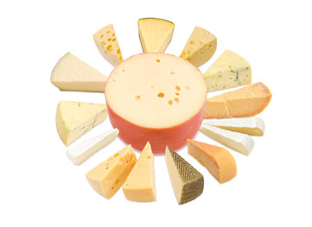Different pieces of hard cheese, semi-soft cheese and soft cheese various types lined up in a circle around the cheese wheel in center on a light background