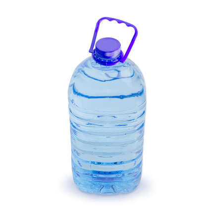 Drinking water in the blue large transparent plastic bottle with carrying handle on a white background