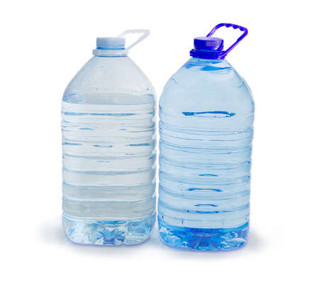 One blue and one white large transparent plastic bottles with carrying handles with drinking water on a white background