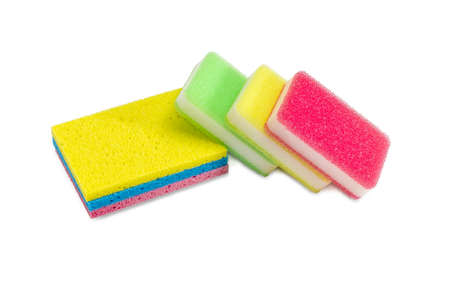 Several various synthetic cleaning sponges different colors on a white background Reklamní fotografie