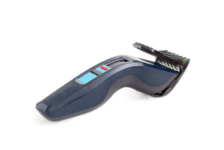Electric hair clipper with hair cutting height adjustment on a white background Stok Fotoğraf
