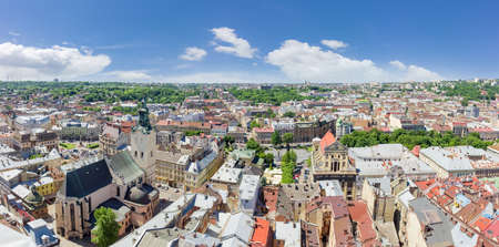 Panorama of the western part of Old Town, view from the tower of city town hall in Lviv, Ukraine